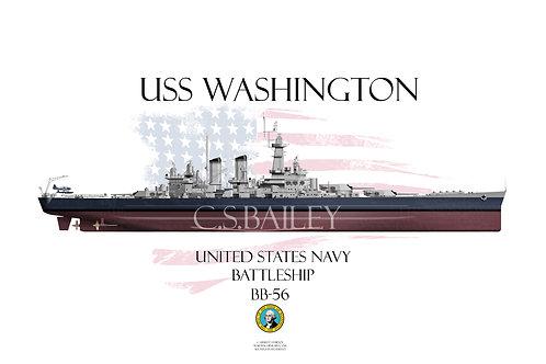 USS Washington BB-56 FH T-shirt