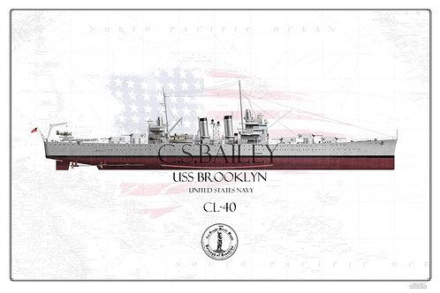 USS Brooklyn CL-40 FH Print