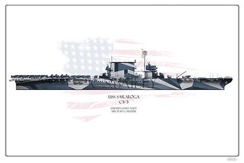 USS Saratoga CV-3 WL Dazzle 1944 Print