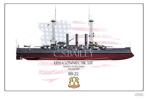 USS Connecticut BB-18 1918 FH Print