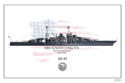 USS South Dakota BB-49 WL Print