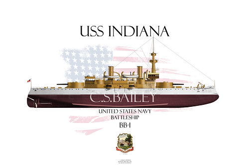 USS Indiana BB-1 FH T-shirt