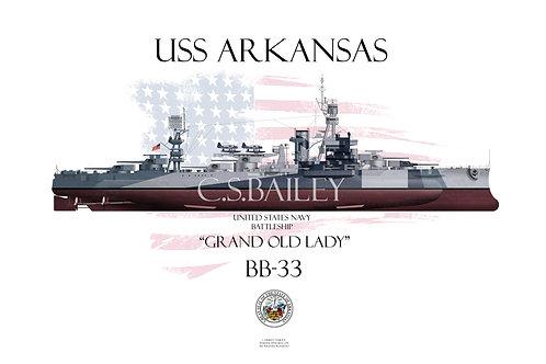 USS Arkansas BB-33 Dazzle FH T-shirt
