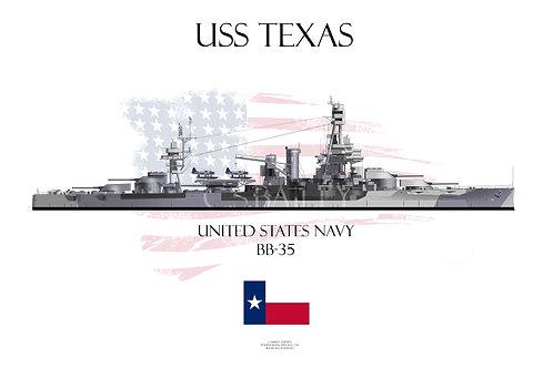 USS Texas Camo BB-35 T-shirt