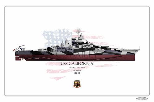 USS California 1944 Dazzle BB-44 FH print