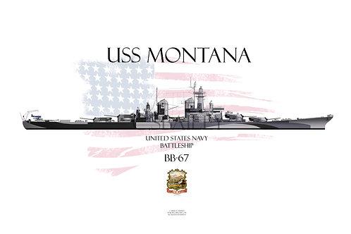 USS Montana BB-67 Late Dazzle T-shirt