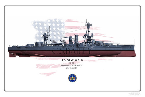 USS New York BB 34 MS21 FH Print