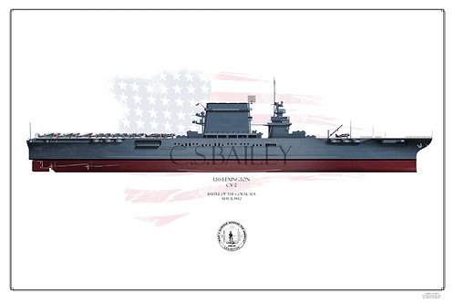 USS Lexington CV-2 FH MS 21 1942