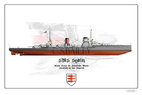 SMS Seydlitz FH Post Jutland print