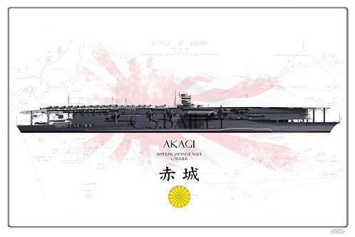 IJN Akagi Battle of Midway WL Print