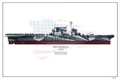 USS Saratoga CV-3 FH Dazzle 1944 Print