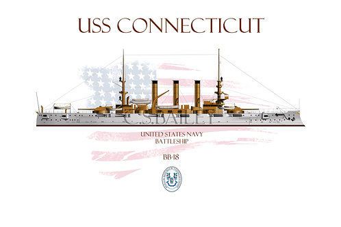 USS Connecticut BB-18 WL T-shirt