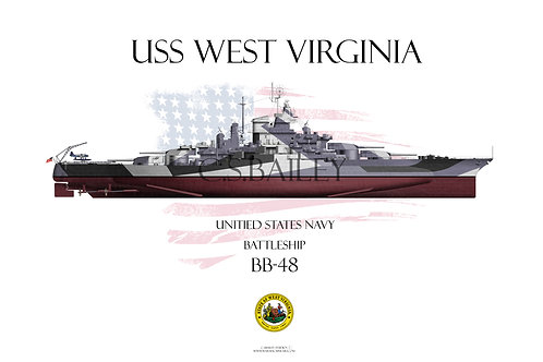 USS West Virginia BB-48 1944 Dazzle FH T