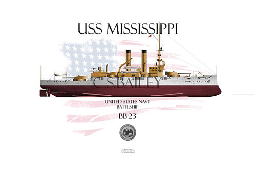 USS Mississippi BB-23 FH T-shirt