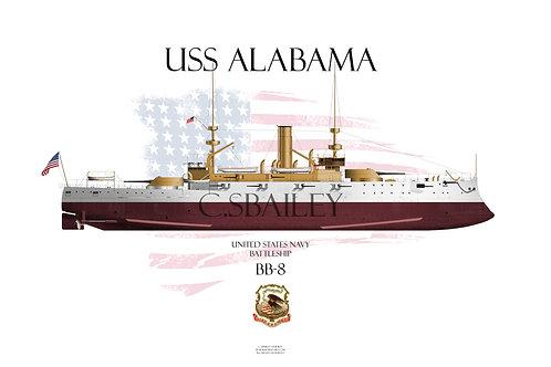 USS Alabama BB-8 FH T-shirt