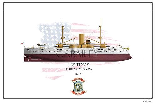 USS Texas 1895 FH print