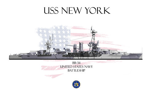 USS New York Dazzle BB-34 WL T-shirt