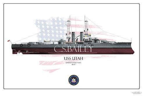 USS Utah BB-31 1920s FH print