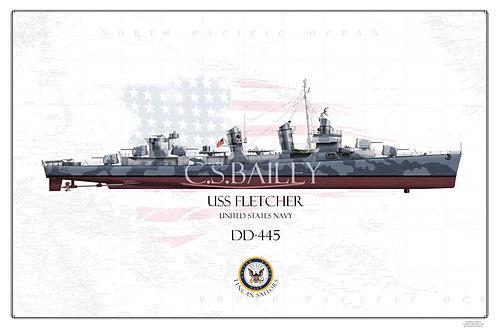 USS Fletcher DD-445 FH Print
