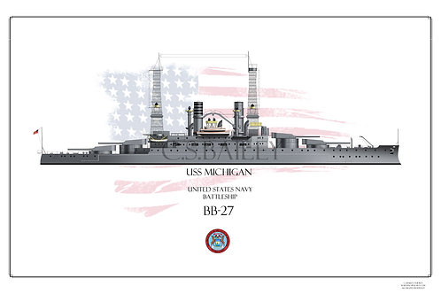 USS Michigan BB-27 WL Print