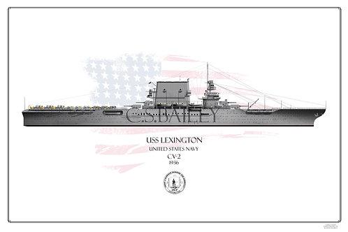 USS Lexington CV-2 WL 1936 Print