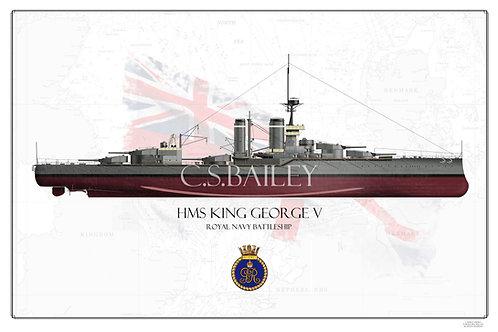 HMS King George V 1911 FH print