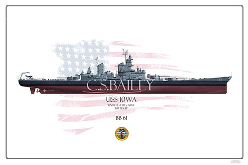 USS Iowa BB-61 MS22 FH Print