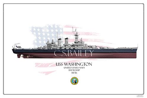 USS Washington BB-56 FH Print