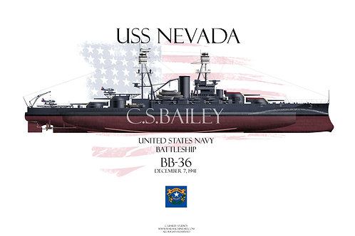USS Nevada BB-36 FH T-shirt