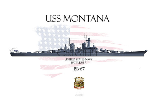 USS Montana BB-67 Early MS-21 T-shirt