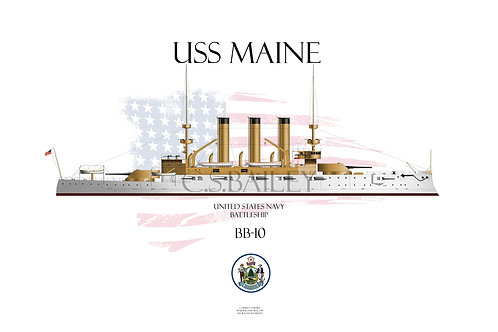 USS Maine BB-10 WL T-shirt