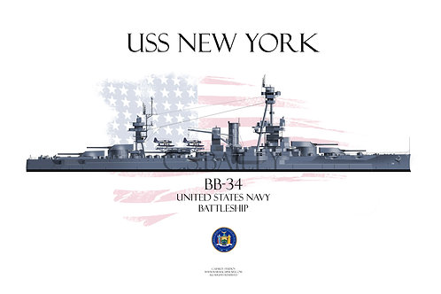 USS New York BB-34 MS21 WL T-shirt