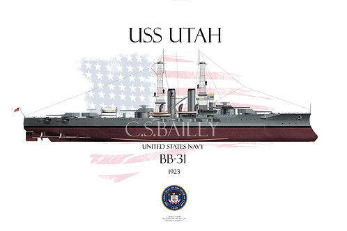 USS Utah BB-31 FH T-shirt