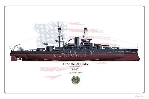 USS Oklahoma BB-37 1941 FH Print