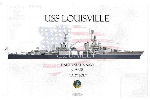 USS Louisville CA-28  MS-22 WL T-shirt