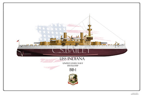 USS Indiana BB-1 FH Print