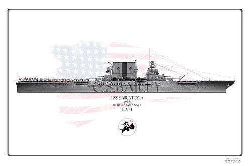 USS Saratoga CV-3 WL 1935 Print