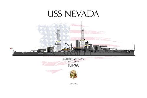 USS Nevada BB-36 WL 1918 T-shirt
