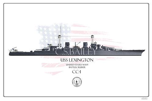 USS Lexington CC-1 1941 WL Print