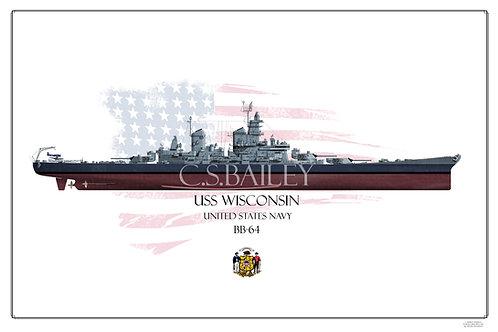 USS Wisconsin BB-64 MS 22 FH print
