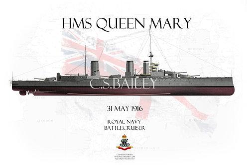 HMS Queen Mary Jutland FH t-shirt