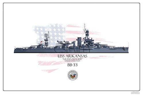 USS Arkansas BB-33 MS21 WL print