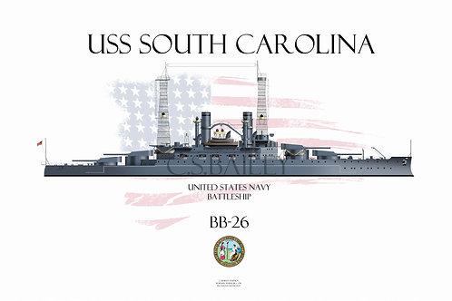 USS South Carolina  BB-26 WL t-shirt