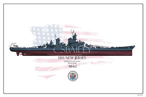 USS New Jersey BB-62 FH Print