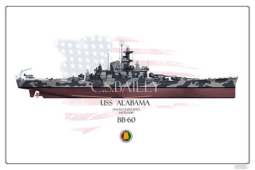 USS Alabama BB-60 FH Print