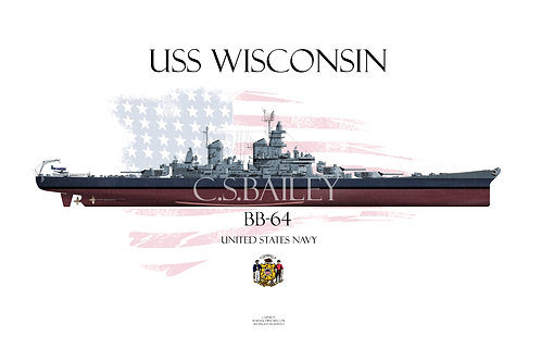 USS Wisconsin BB-64 MS 22 FH T-shirt