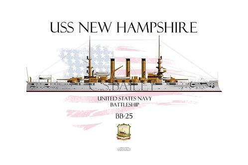 USS New Hampshire BB-25 WL T-shirt