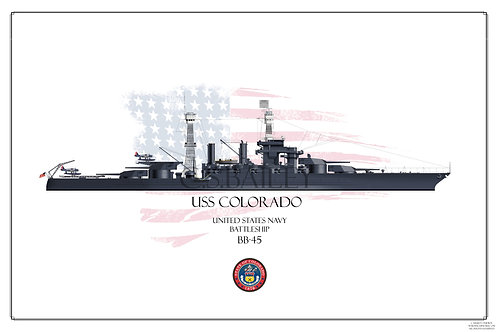 USS Colorado Early 1942 BB-45 WL print