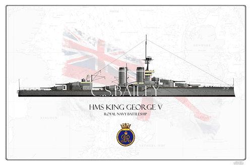 HMS King George V 1911 WL print