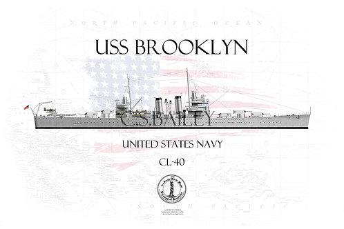 USS Brooklyn CL-40 WL T-shirt